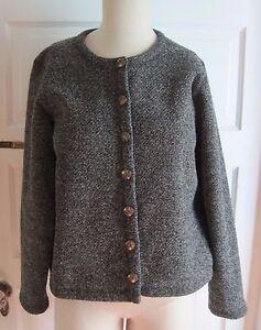 Womens-LL-Bean-Mottled-Flecked-Black-Fleece-Collarless-Cropped-Blazer-Jacket-S