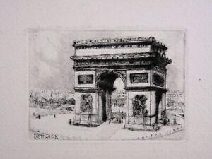 Eau-forte Originale Jean Eugène BERSIER (1895-1978) arc de triomphe