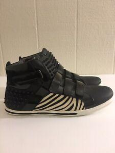 aldo mens black/multicolor spiked hitop sneakers shoes sz