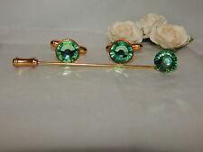 G/P Peridot/Light Green Cufflinks & Cravat/Stick Pin -Mens-Ladies-Wedding-Gifts