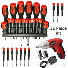 32Pc Screwdriver Tool Set Precision Phillips Torx Pozi Slotted + Cordless Driver