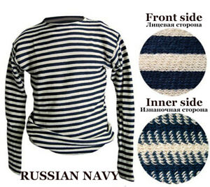 Russia USSR Military Marines Navy BlueT-Shirt Telnyashka Long Sleeve