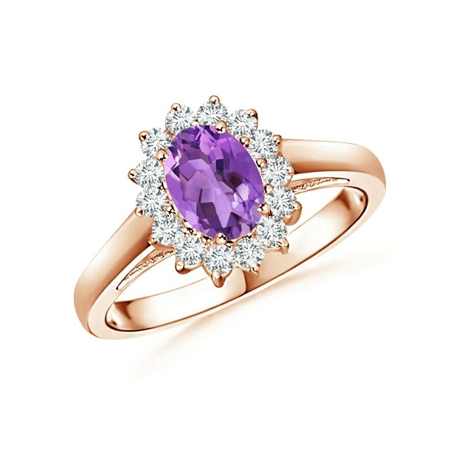 14k pink gold Natural Full Cut Diamond Amethyst Anniversary Engagement Ring