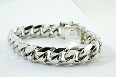 """7.1/"""" Taxco Mexican 925 Sterling Silver Curb Chain Bracelet 33 g 18 cm"""