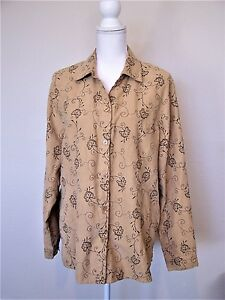 c87f2077cba Image is loading Tan-Embroidered-Floral-Print-Blouse