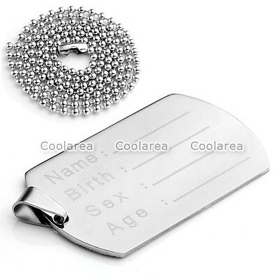 1pc Mens Stainless Steel Silver Military ID Army Style Dog Tag Pendant Necklace