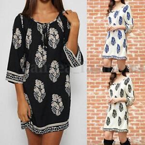 Women-Boho-Floral-Printed-3-4-Sleeve-Loose-Long-Tops-Shirt-Mini-Dresses-Sundress