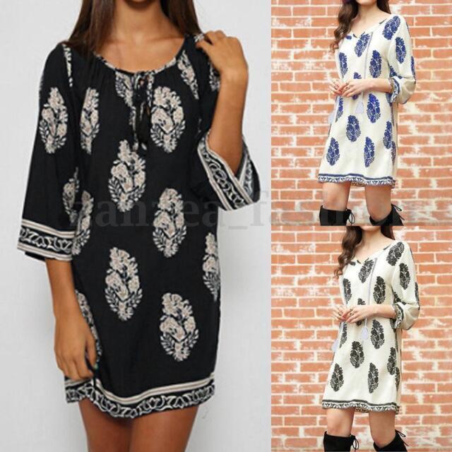 Women Boho Floral Printed 3/4 Sleeve Loose Long Tops Shirt Mini Dresses Sundress