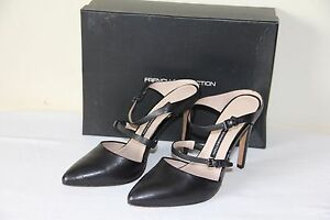 NEW-French-Connection-MONDALAY-Womens-Leather-Black-Dress-Shoes-Heels-Slip-On
