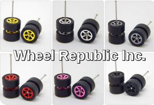 6 sets SAKURA Black Rubber Tire 6 rim colors Hot Wheels 5 Spoke