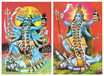 5x Tempel Bild Postkarte Hindu Gott Ganesh Kali Laksmi  18x13 cm gold geprägt