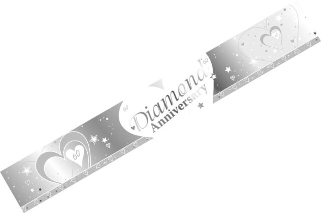 Creative Party 9Ft Diamond Anniversary Foil Banner,60Th Wedding Anniversary