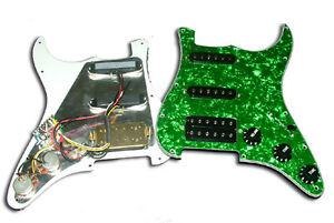 dragonfire prewired loaded strat pickguard hss green. Black Bedroom Furniture Sets. Home Design Ideas