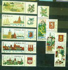 POLAND STAMPS MNH 2Fi1769-76 Sc1650-57 Mi1916-23 - Tourism, 1969, clean