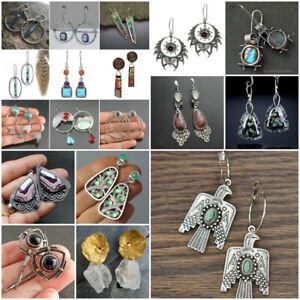 Vintage Women 925 Silver Turquoise Moonstone Pearl Ear Stud Dangle Drop Earrings
