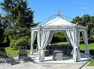pavillon 6 eckig casablanca metallpavillon gartenlaube metall gazebo 4 50 m ebay. Black Bedroom Furniture Sets. Home Design Ideas