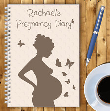 A5 PERSONALISED PREGNANCY DIARY, WIRE BOUND PREGNANCY JOURNAL, GIFT, OWN NAME,03