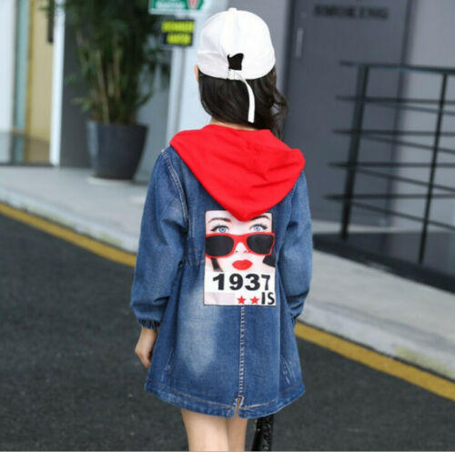 Kids Girls Denim Jeans Hoodies Trench Coats Jackets Outwear Long Dress Overcoat