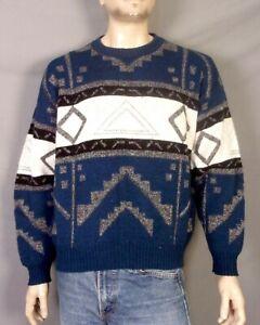 VTG 80s 90s London Fog geometrische hässliche Bill Cosby Sweater Crew Pullover Wollmischung XL