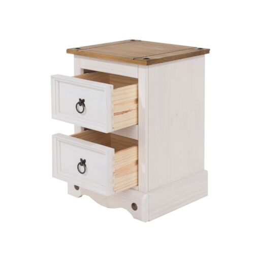 2 Drawer Petite Bedside with Pine Top Premium Corona Whitewashed Pine Range
