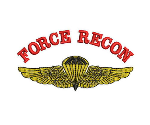 US Marine Corps FORCE RECON Naval Parachutist Wings USMC Embroidered Shirt