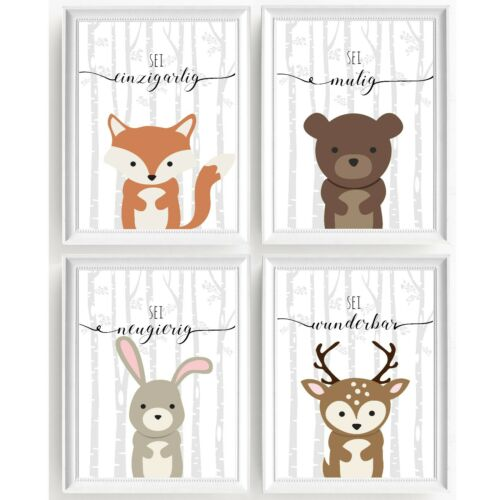 Print Picture Poster 4er Set Print Nursery Picture Deco Art Print Animals Birch V