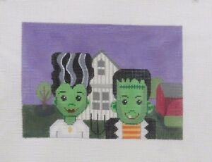 Gayla-Elliott-Designs-Farmer-amp-Wife-Frankenstein-Handpainted-Needlepoint-Canvas