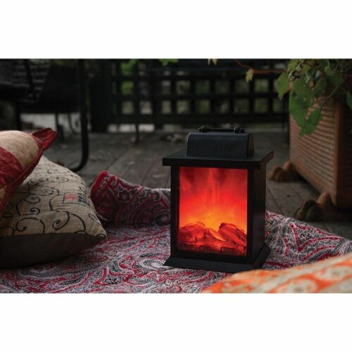 Fireplace Lantern LED Flame Effect Stylish Decorative Home 21cm