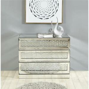 Details about MIRRORED DRESSER CABINET EMBEDDED CRYSTALS LIVING DINING ROOM  BEDROOM 3 DRAWERS
