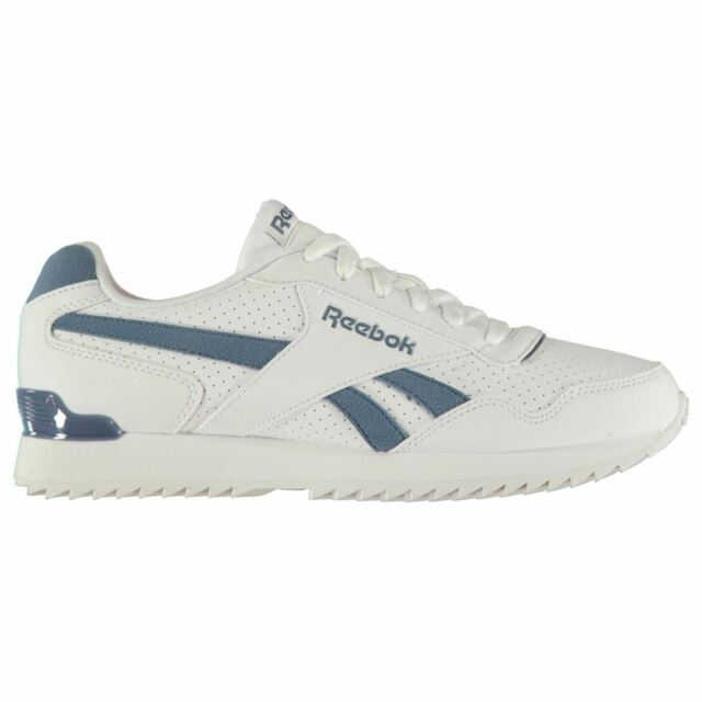 6b85fb4fa574 Reebok Royal Glide Ripple Clip Trainers Mens White Blue Sports Shoes  Sneakers