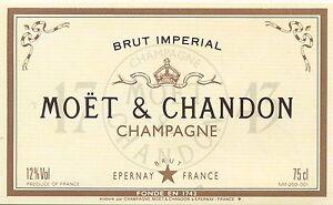 Details About Etiquette De Champagne Moet Et Chandon Epernay Brut Imperial