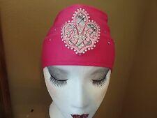 Biker Motorcycle Headband Bandana Pink Fleur De Lis Plaid Bling Chemo Hat