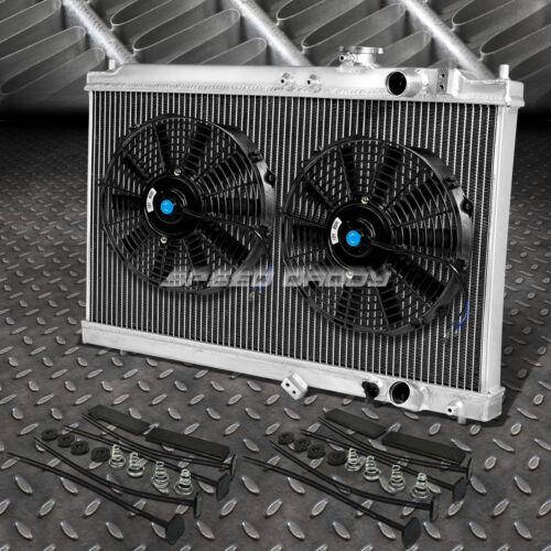 "2-ROW ALUMINUM RADIATOR+2X 10/""FAN BLACK FOR 94-01 ACURA INTEGRA GS RS DB GSR DC2"
