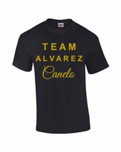 TEAM ALVAREZ TSHIRT BLACK AND GOLD//WHITE CANELO ALVAREZ TSHIRT