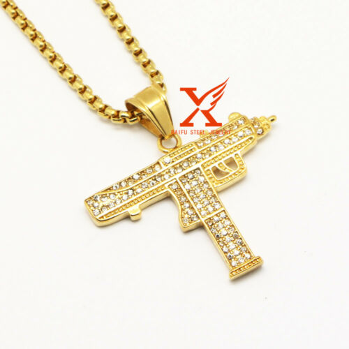 """24/"""" Stainless Steel Gold Ice Out Full CZ Gun pendant Necklace 3MM Box Chain"""