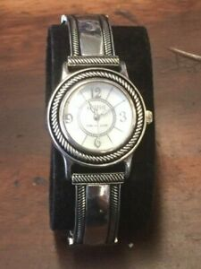 Ecclissi Sterling Silver Mother Of Pearl Face Leather Band Watch , working