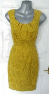 PEPPERBERRY-Size-8-RC-Really-Curvy-Mustard-Gold-Yellow-Dress-Pleat-Neckline