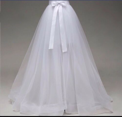 UK White//ivory Organza Detachable Train Wedding Dress Not Included Size 6-20