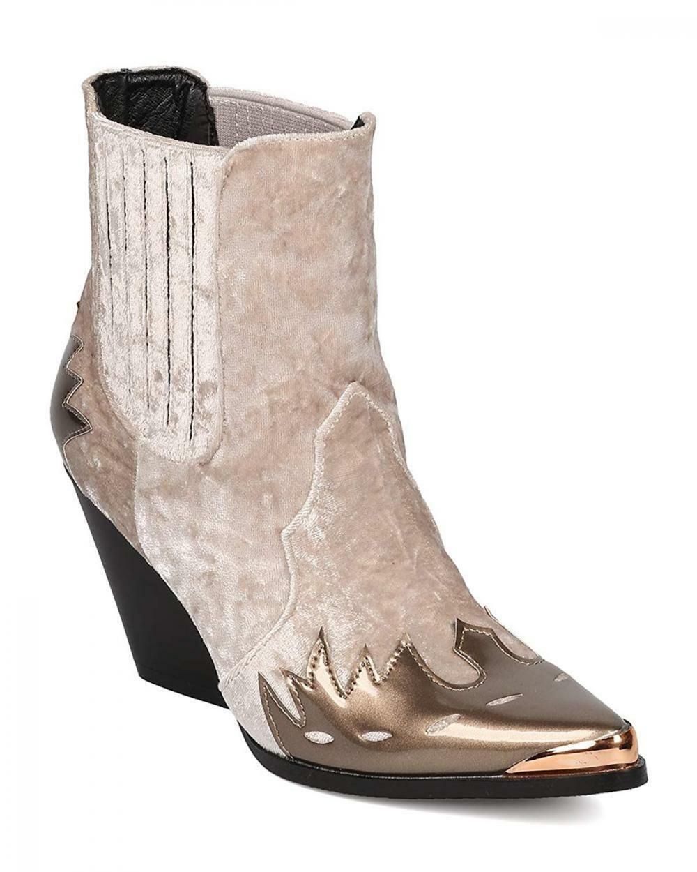 CAPE ROBBIN femmes Mixed Media Pointy Toe Flame Pattern Cowboy démarrageie HJ88