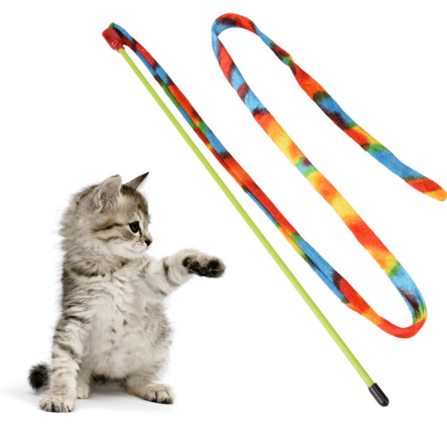 Cat - rainbows teaser stick kitten wand colorful toy