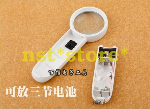 1pcs hand-held magnifier 15 times magnifying glass with light MG6B-2