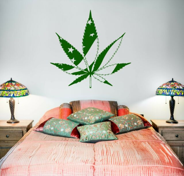 Wall Vinyl Marihuana Weed Smoking USA Flag (z3396)