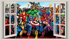Marvel Wall Art huge 3d window wall art sticker - marvel heroes decal vinyl