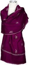 Kashmir Schal Beere hand bestickt embroidered 100% Wolle wool foulard scarf