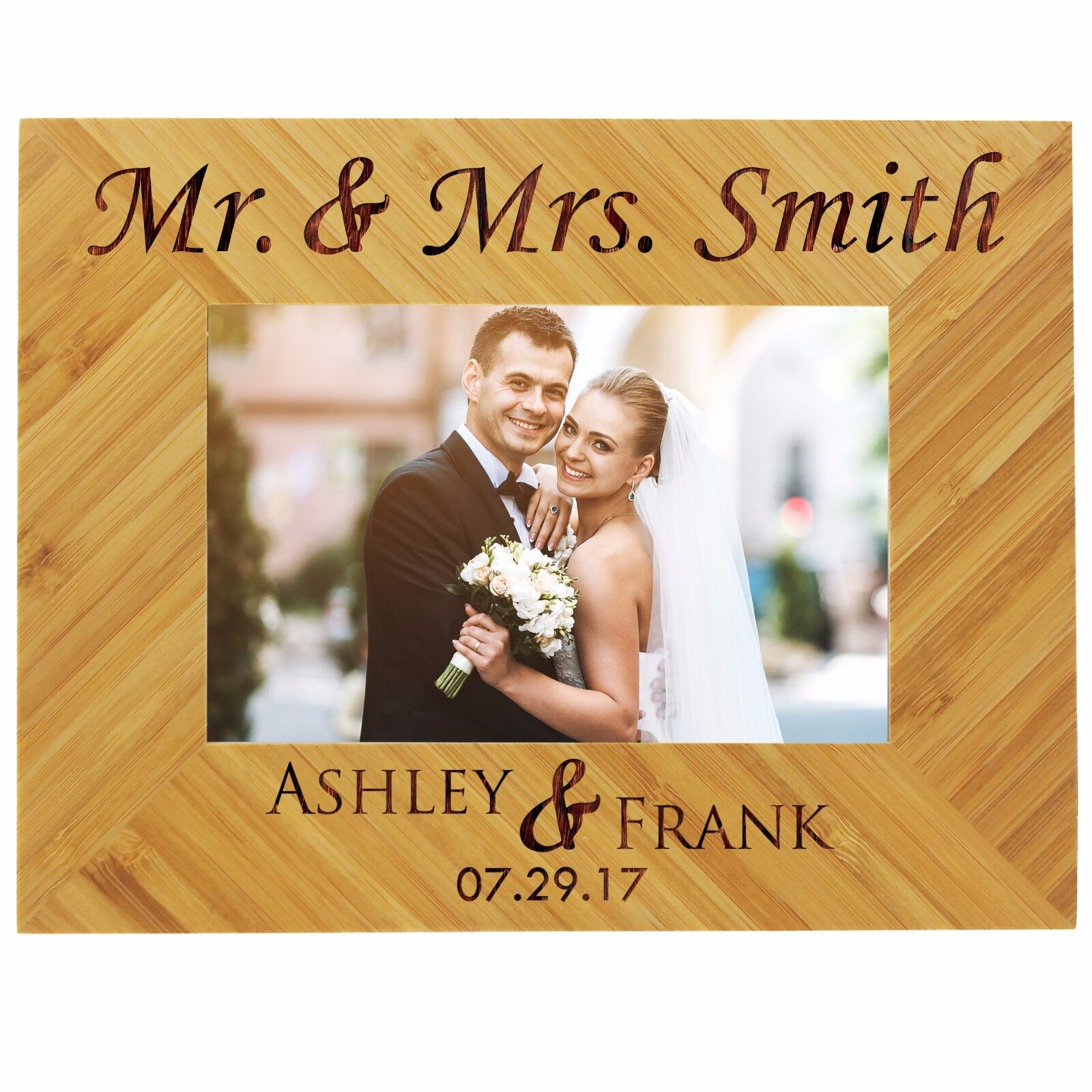 Custom Engraved 5x7 Picture Wedding Frame For Newlywed