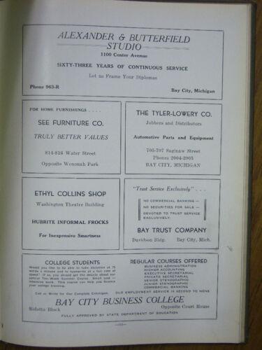 "1937 /"" CENTRALIA /"" BAY CITY MICHIGAN BAY CITY CENTRAL HIGH School Yearbook"