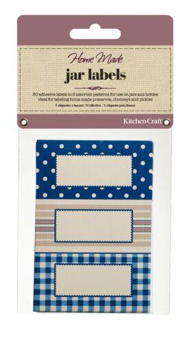 Home Made Pack of 30 Jam Jar Labels Stitched Stripes