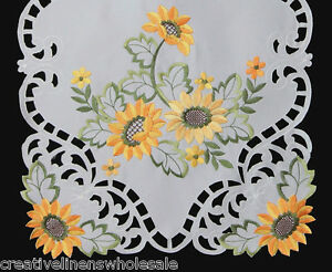 Embroidered-Sunflower-Cutwork-Placemat-Table-Runner-Tablecloth-Topper-White-6725