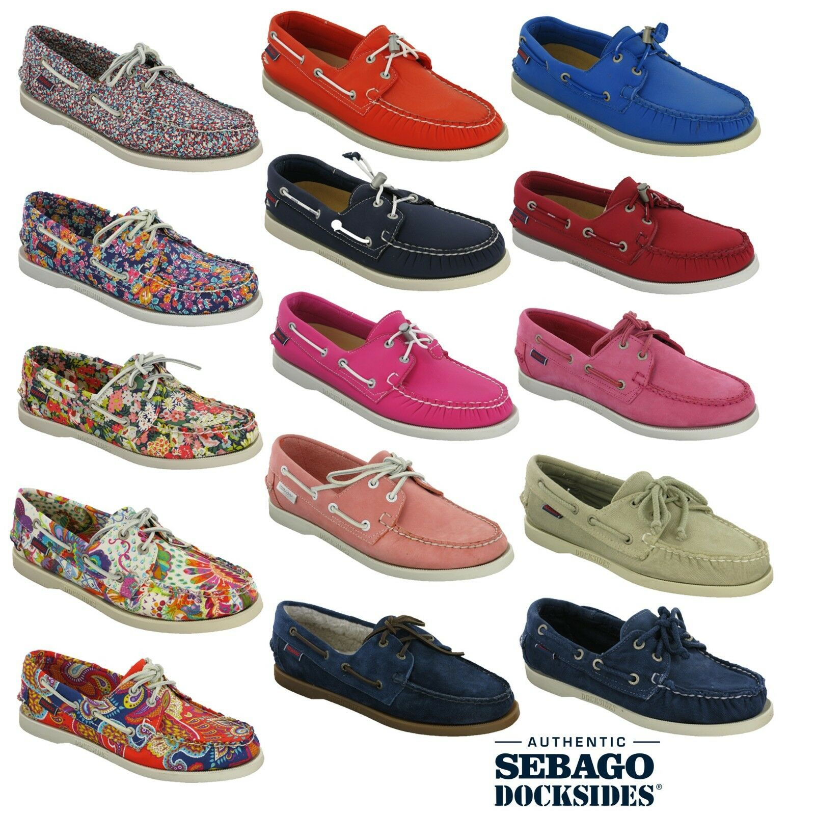 Sebago Plaza femmes Casual Low Leather Suede Loafer Slip On Flat chaussures UK2.5-9.5