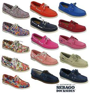 Sebago-Docksides-Femmes-Bas-Plat-Aenfiler-Mode-Decontractee-Mocassins-Chaussures